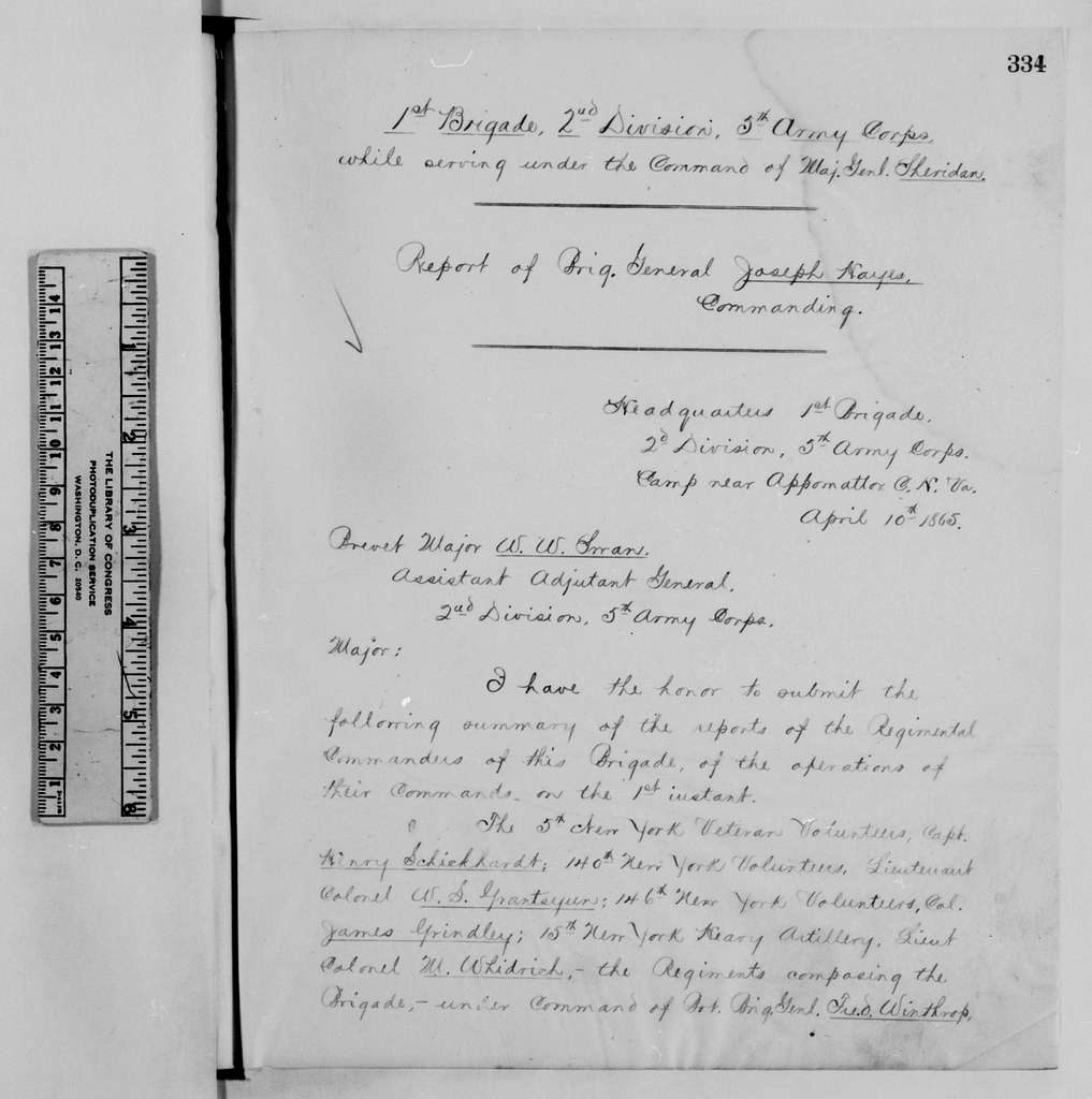 Philip Henry Sheridan Papers: Military Papers, 1853-1887; Operations reports; Letterpress copies; Vol. 3; Appomattox campaign, 1864-1865; Pages 334-449