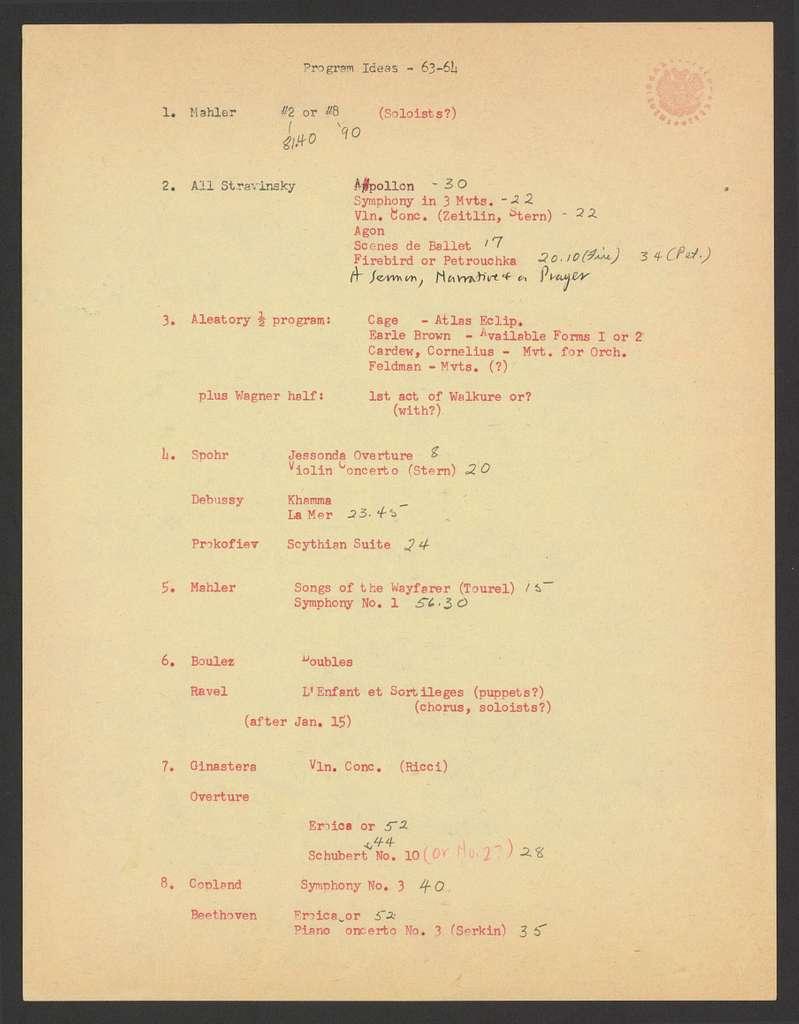 programming plans, 1963-64, 64-65 New York Philharmonic seasons, 1963