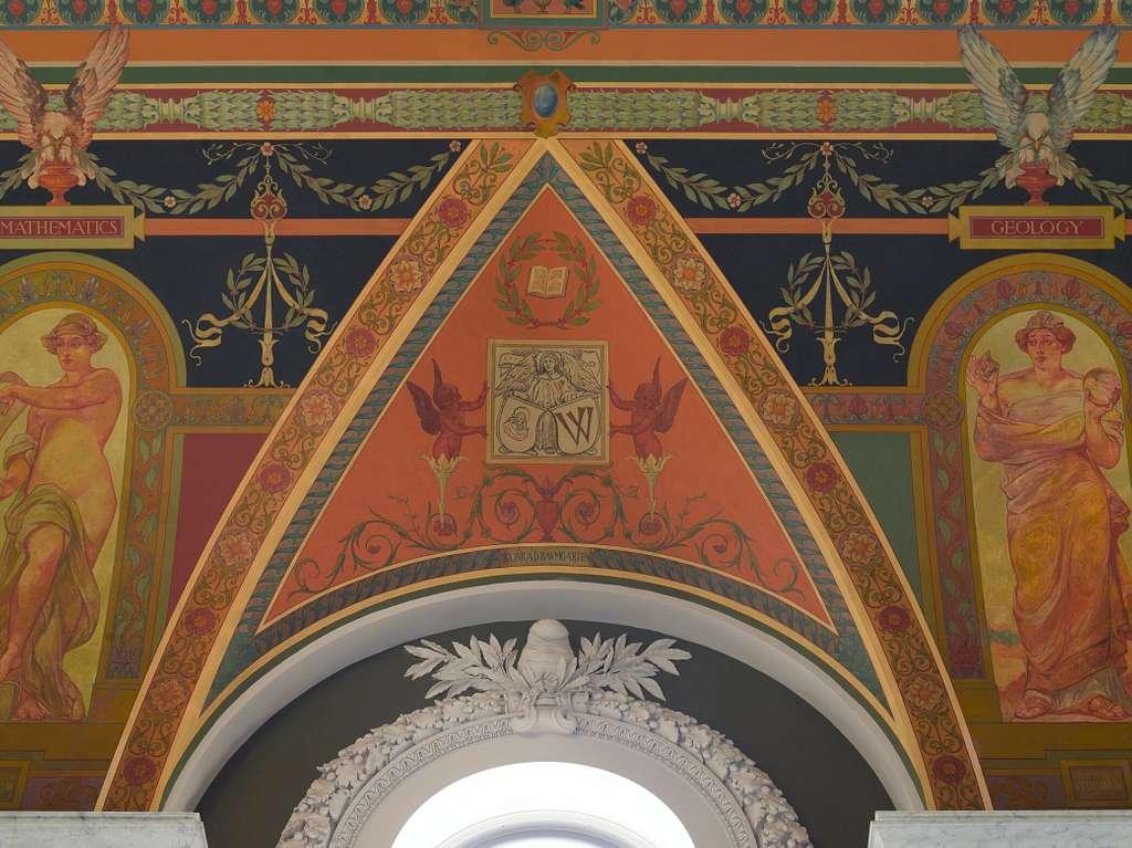 [Second Floor Corridor. Printers' marks+Columns. Printer's mark of Conrad Baumgarten in West Corridor. Library of Congress Thomas Jefferson Building, Washington, D.C.]