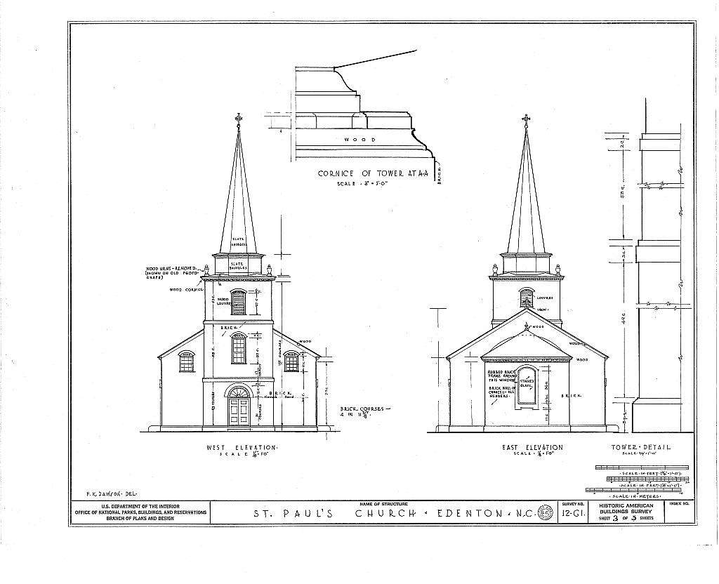 St. Paul's Episcopal Church, West Church & North Broad Streets, Edenton, Chowan County, NC