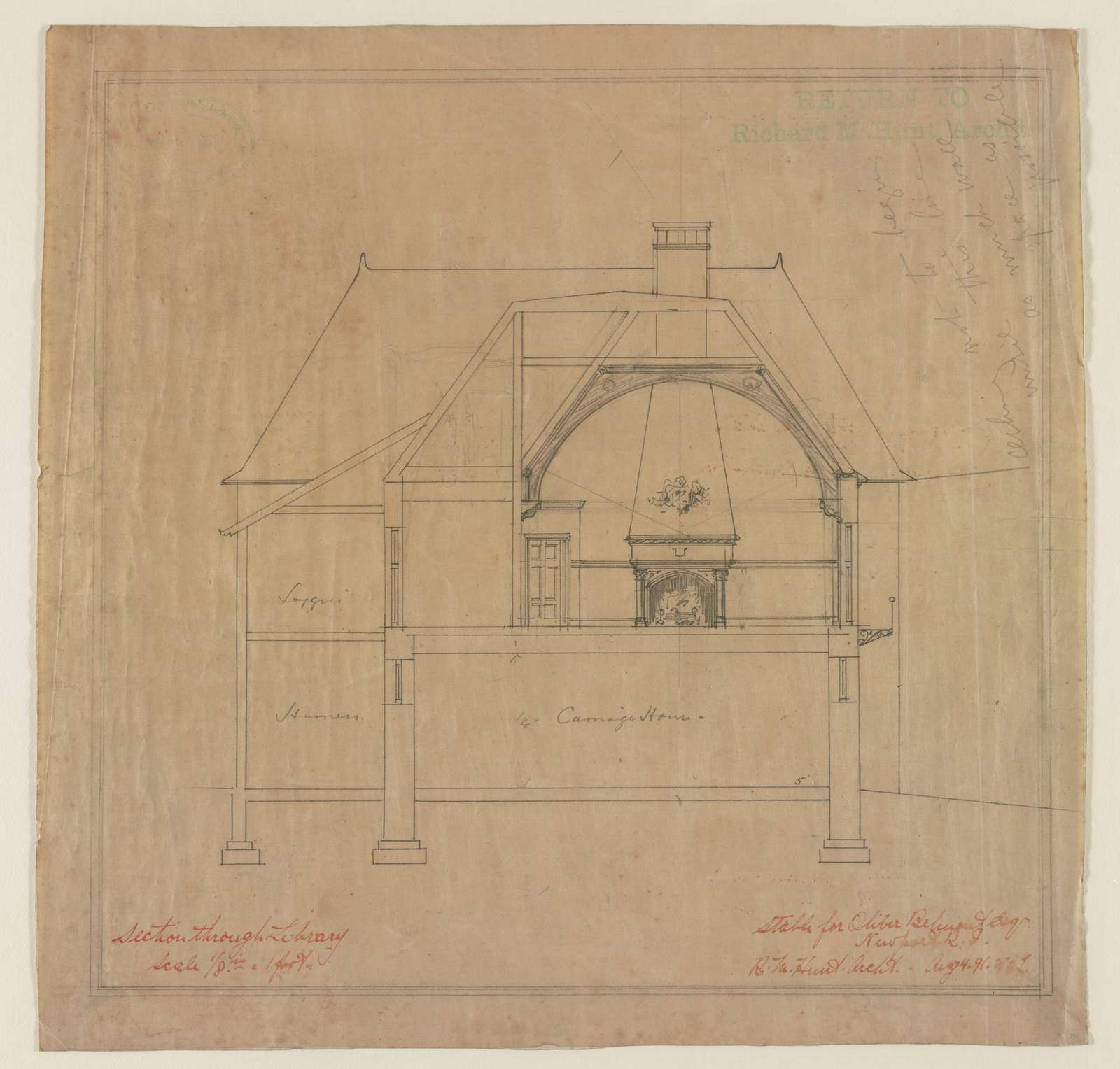 Stable for Oliver Belmont Esq., Newport, R.I. Section through library / R.M. Hunt, arch't.