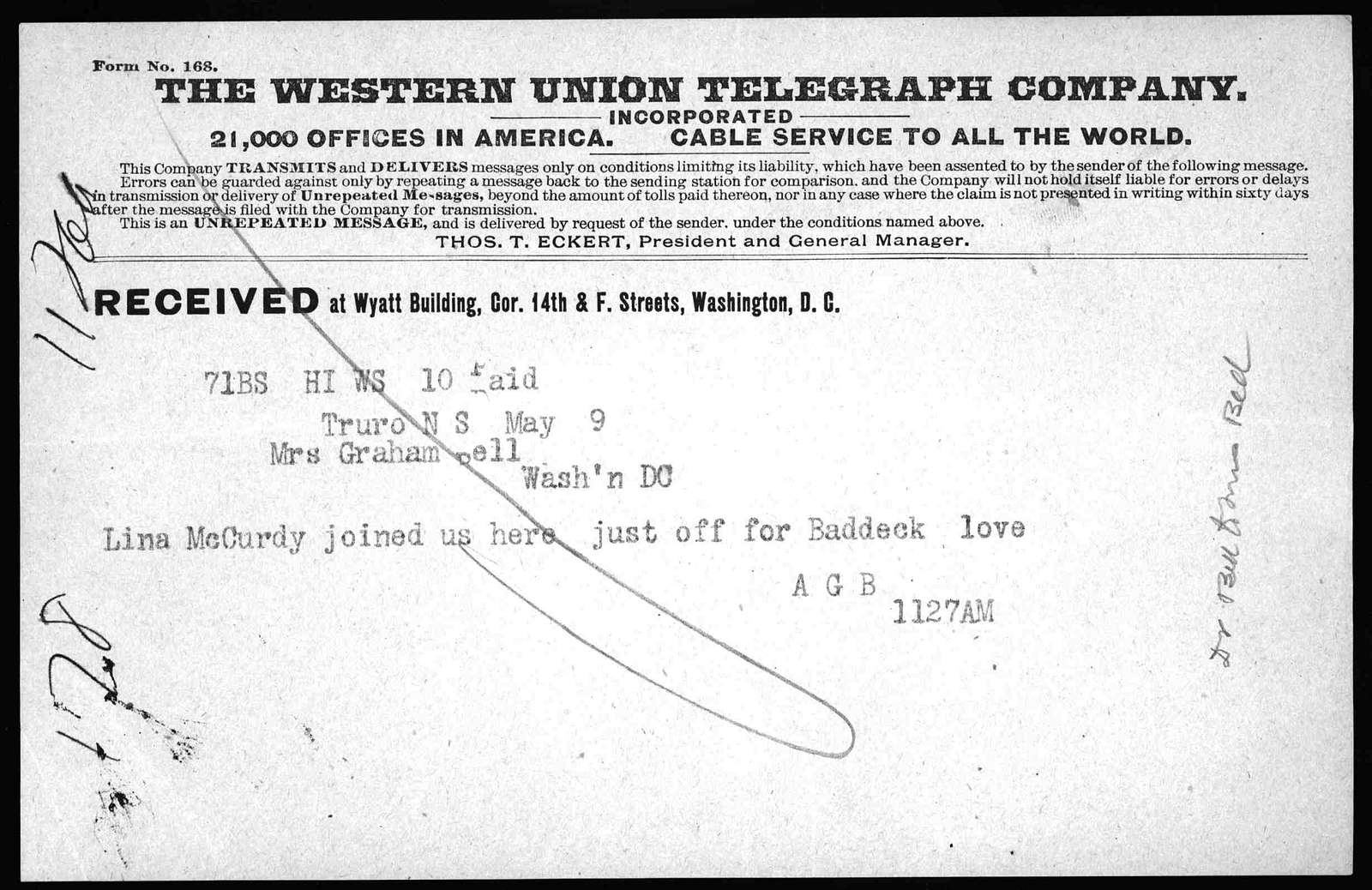 Telegram from Alexander Graham Bell to Mabel Hubbard Bell, May 9