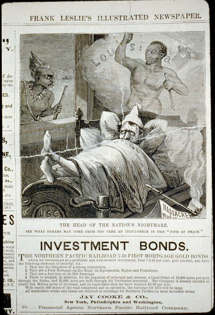 """The head of the nation's nightmare - see what dreams may come from too free an indulgence in the """"pipe of peace"""" [caricature of Ulysses S. Grant in bed dreaming; visions of African American revolt in Louisiana and Modoc Indian massacre in Oregon]"""