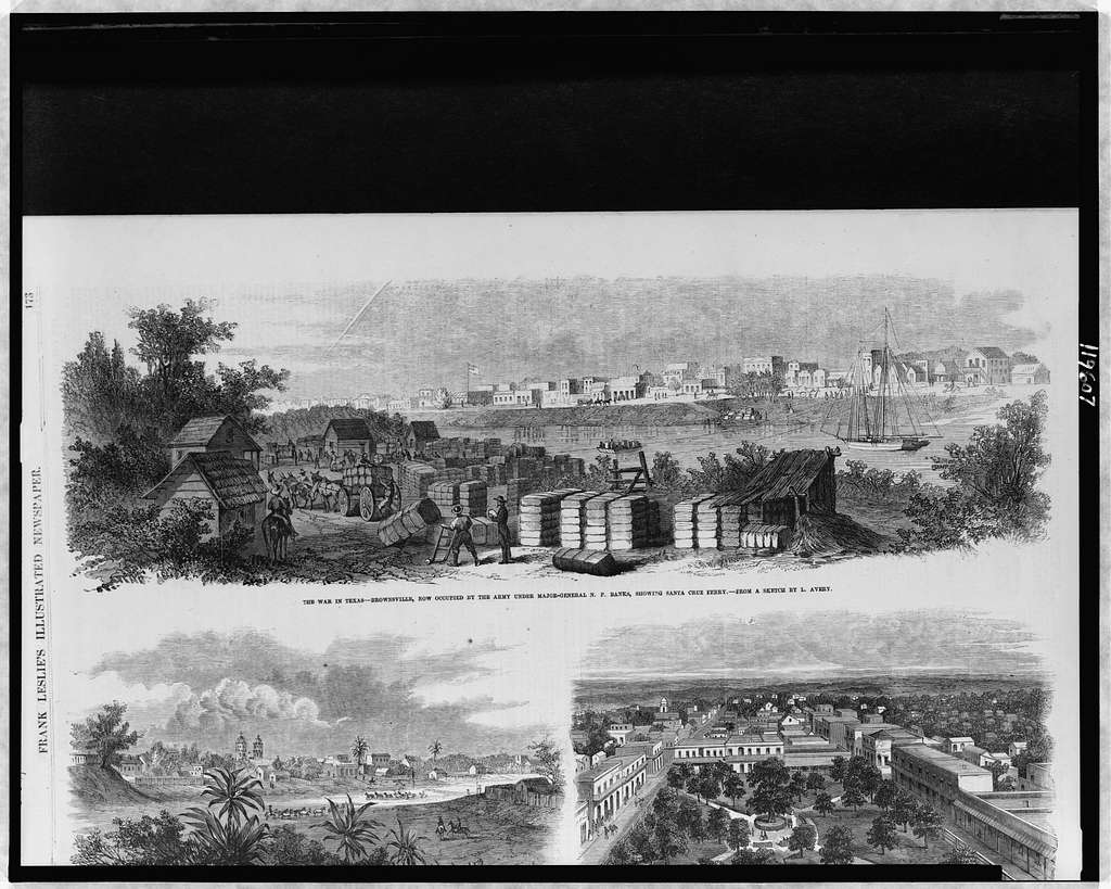 The war in Texas - Brownsville, now occupied by the Army under Major-General N.P. Banks, showing Santa Cruz Ferry / from a sketch by L. Avery.