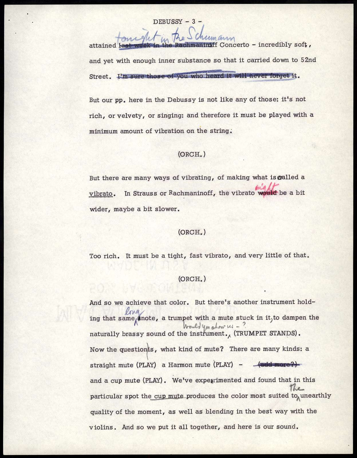 Thursday Evening Previews Scripts: Americans/Debussy [typescripts with emendations in red, blue & black pencil]