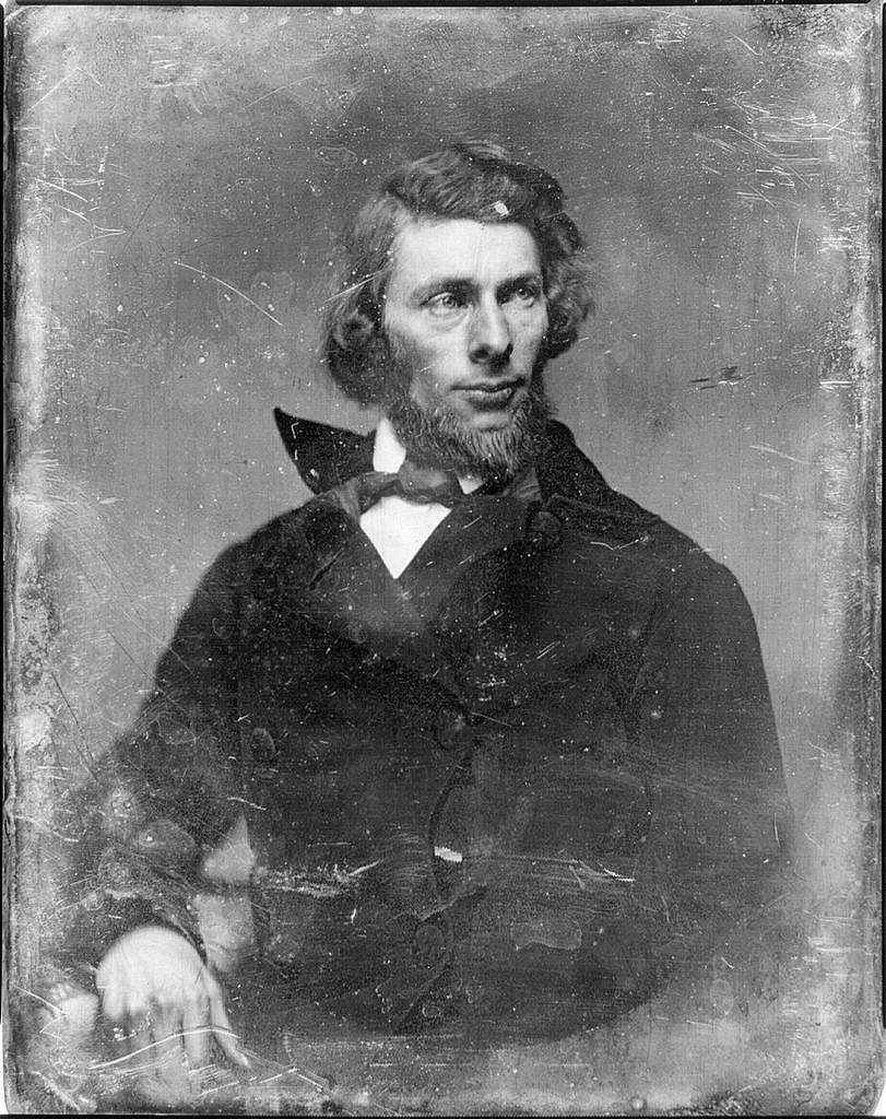 [Unidentified man, possibly Asher Brown Durand, half-length portrait, slightly to the left, head three-quarters to the right, with beard]