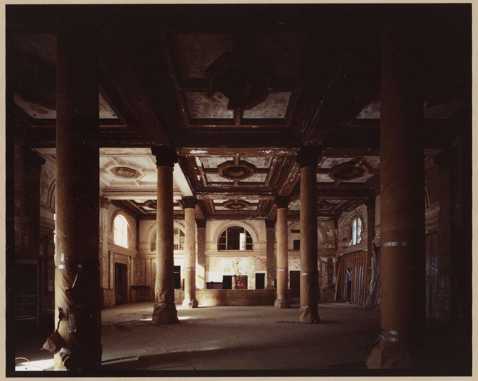 Willard Hotel lobby after cleanup, before restoration, 1984 / C.M. Highsmith.