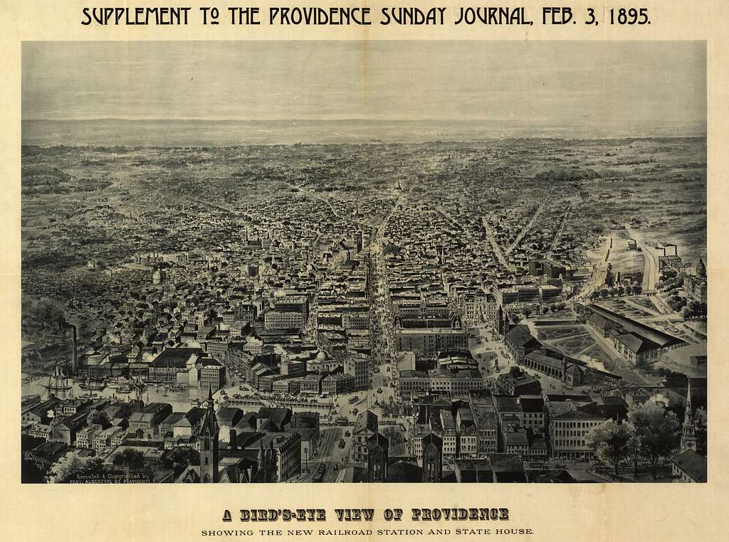 A bird's-eye view of Providence : showing the new railroad station and State House /