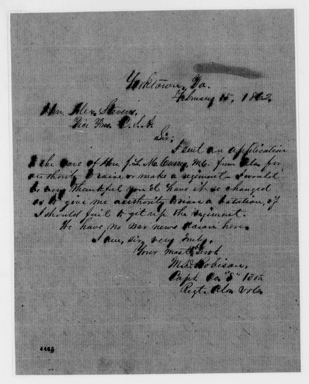 Alexander Hamilton Stephens Papers: General Correspondence, 1784-1886; 1862, Feb. 2-23