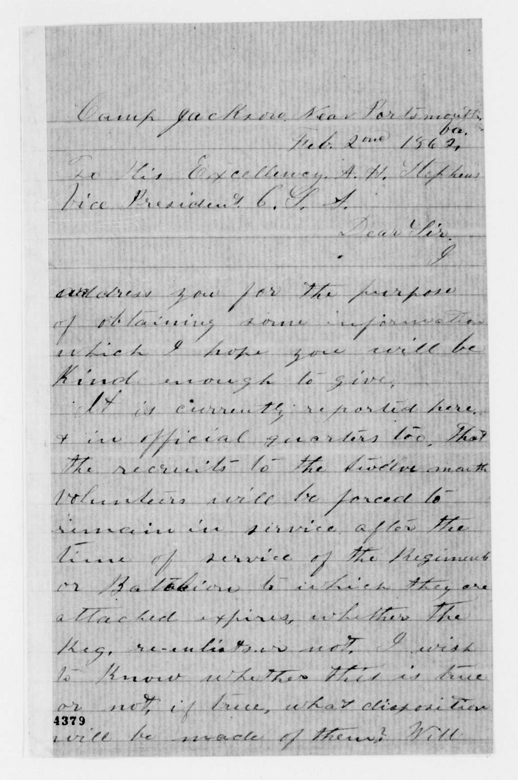 Alexander Hamilton Stephens Papers: General Correspondence, 1784-1886; 1862, Feb. 2-23