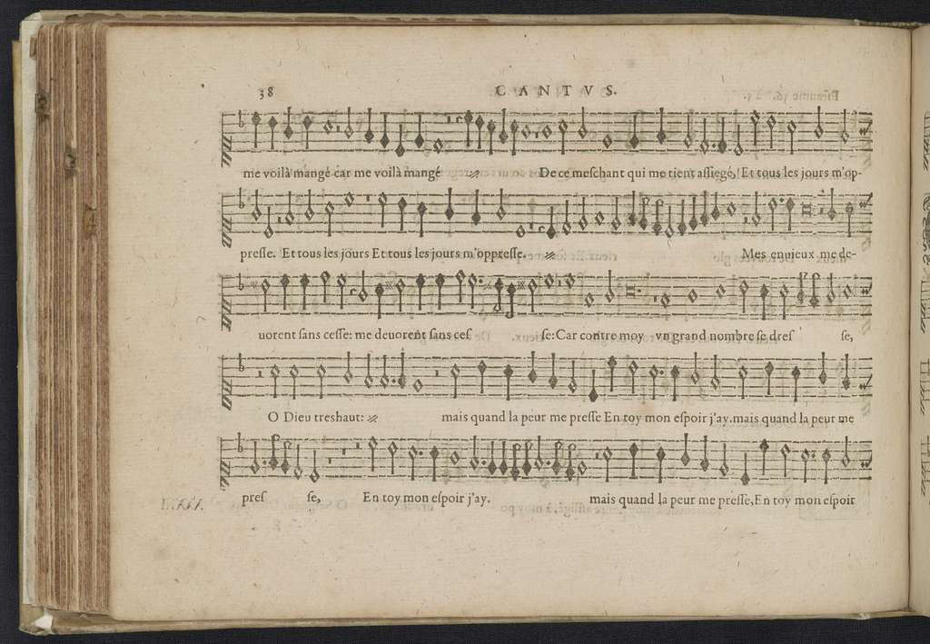 Cantus Pseaumes de David and sacred part songs from Claude Le Jeune, Jan Peiterszoon Sweelinck, Paschal de L'Estocart, Orlando di Lasso, Jan Tollius in the 16th and the early17th century