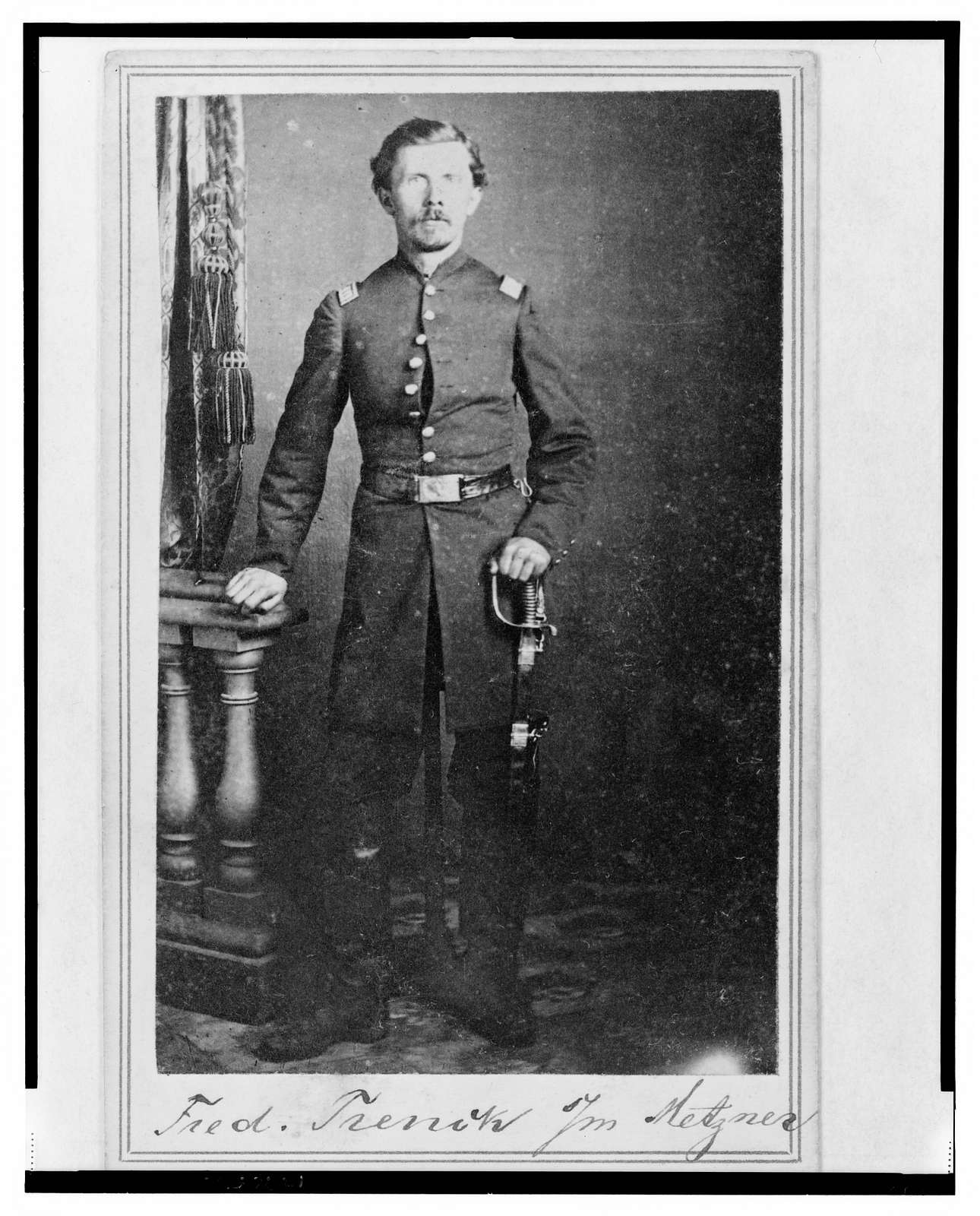 "[Captain Frederick ""Ned"" Trenk (Trenck), Union officer in the 32nd Indiana Regiment, full-length portrait, standing, facing front] / T.M. Schleier's Cartes de Visite Photograph Gallery, Nashville, Tenn."