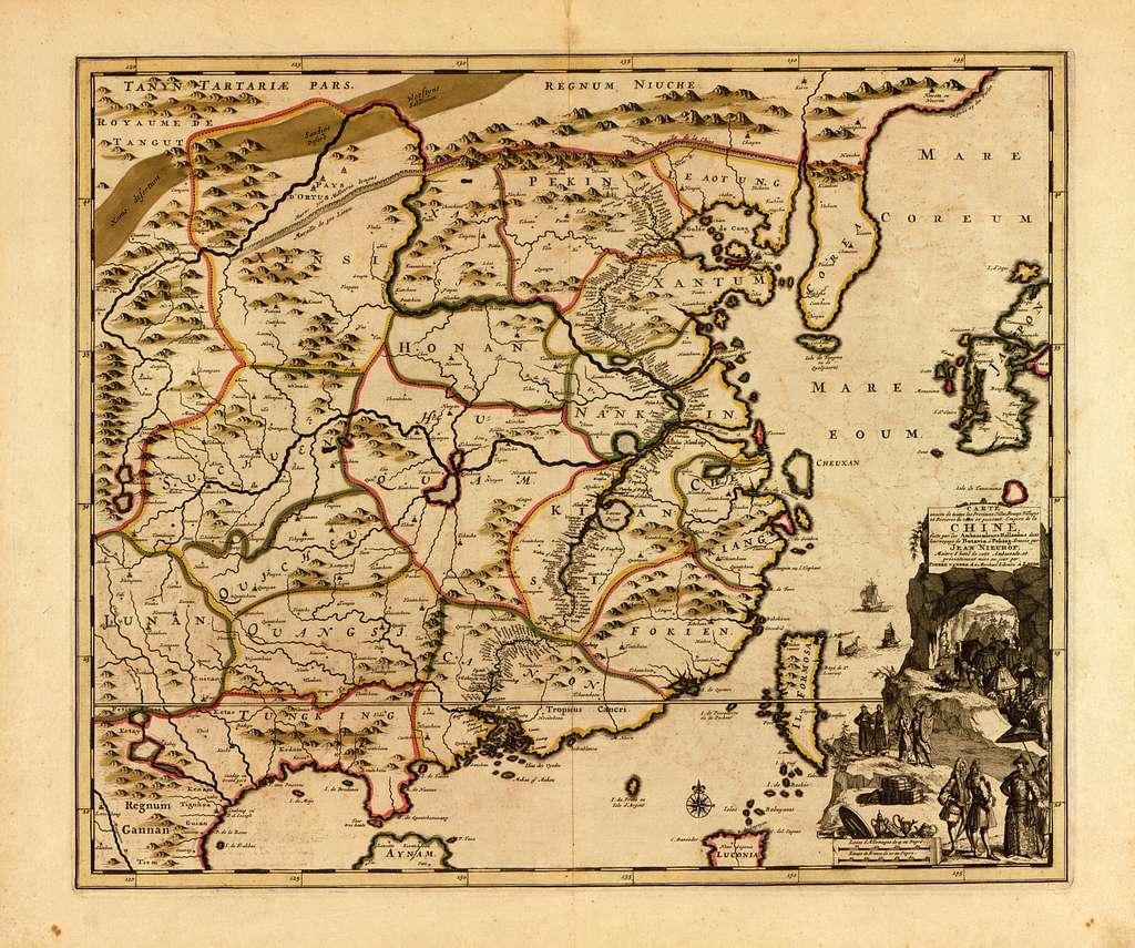Carte exacte de toutes les provinces, villes, bourgs, villages et rivières du vaste et puissant empire de la Chine : faite par les ambassadeurs hollandois dans leur voyage de Batavia à Peking /