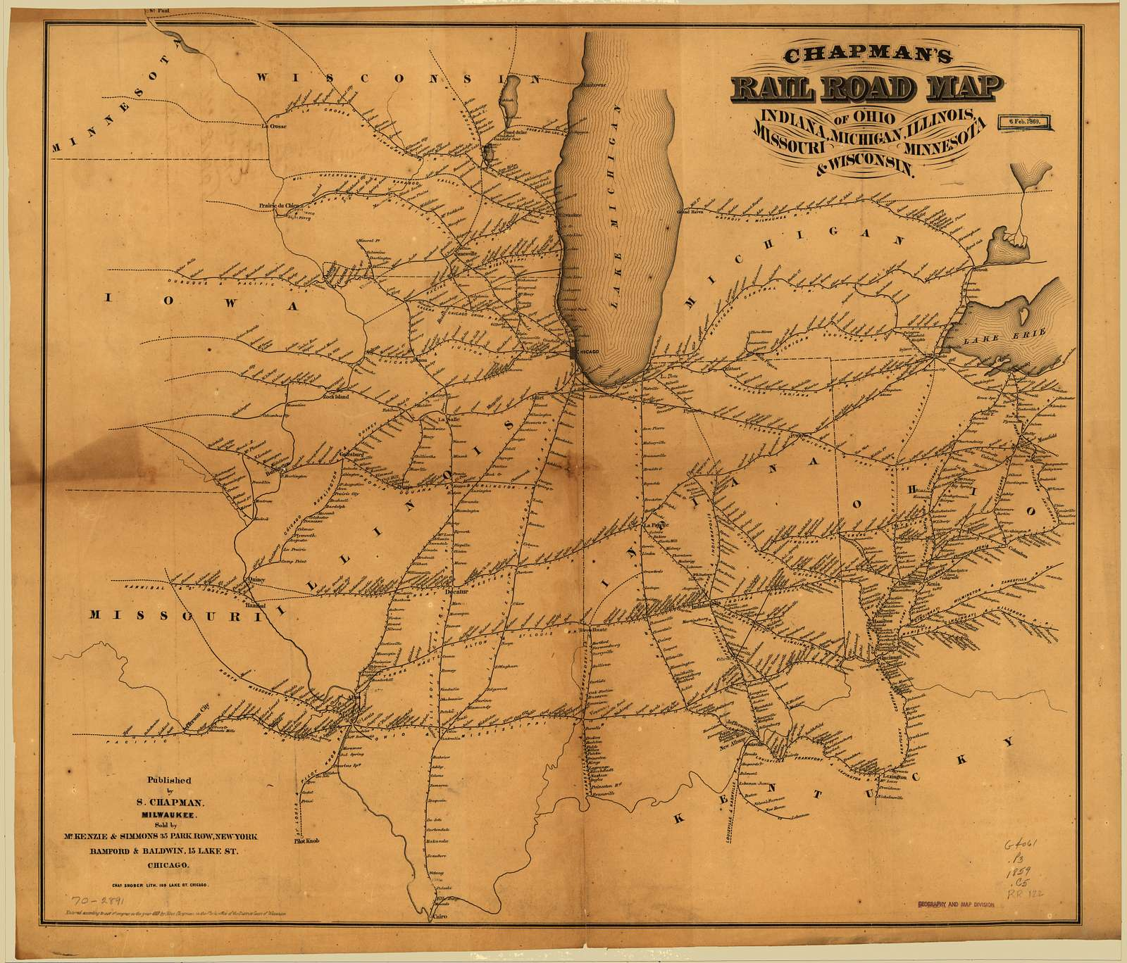 Chapman's rail road map of Ohio, Indiana, Michigan, Illinois, Missouri, Minnesota, & Wisconsin.