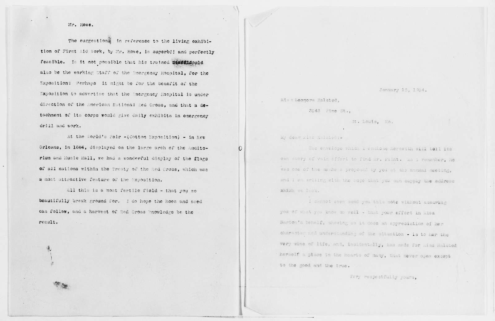 Clara Barton Papers: Red Cross File, 1863-1957; American National Red Cross, 1878-1957; Expositions; Louisiana Purchase Exposition, St. Louis, Mo., 1904