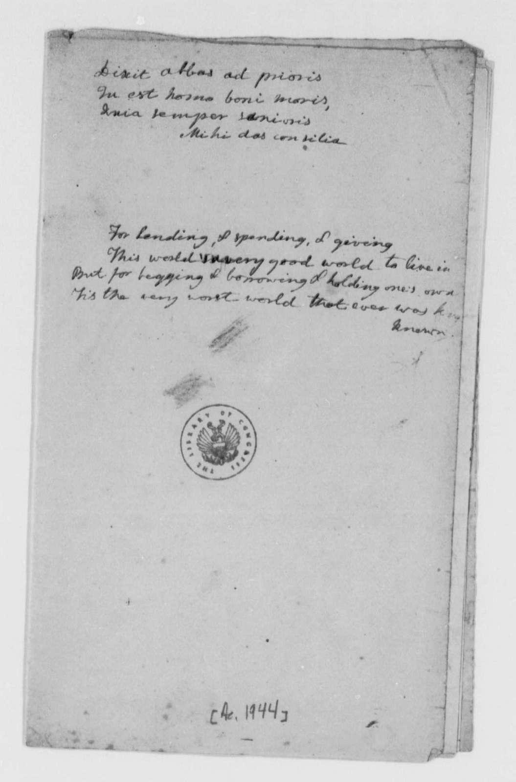 Cornelia Randolph, no date, Commonplace Book