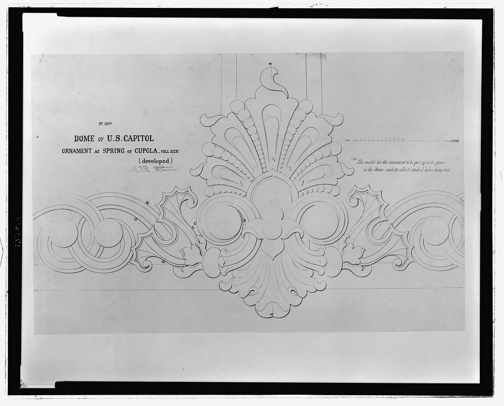 Dome of the U.S. Capitol. Ornament at spring of cupola, full size (developed) / Tho. U. Walter, architect in Washington, D.C., Oct. 2, 1860.