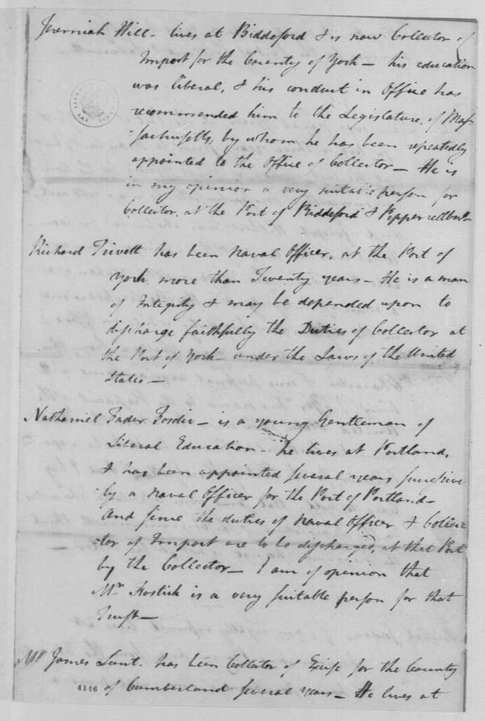 George Washington Papers, Series 7, Applications for Office, 1789-1796: George Thatcher