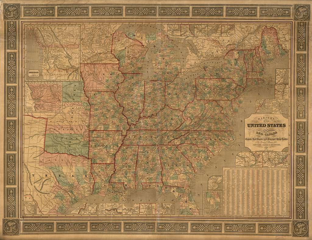 Harper's cereographic map of the United States and Canada : showing the canals, rail roads, and principal stage routes /