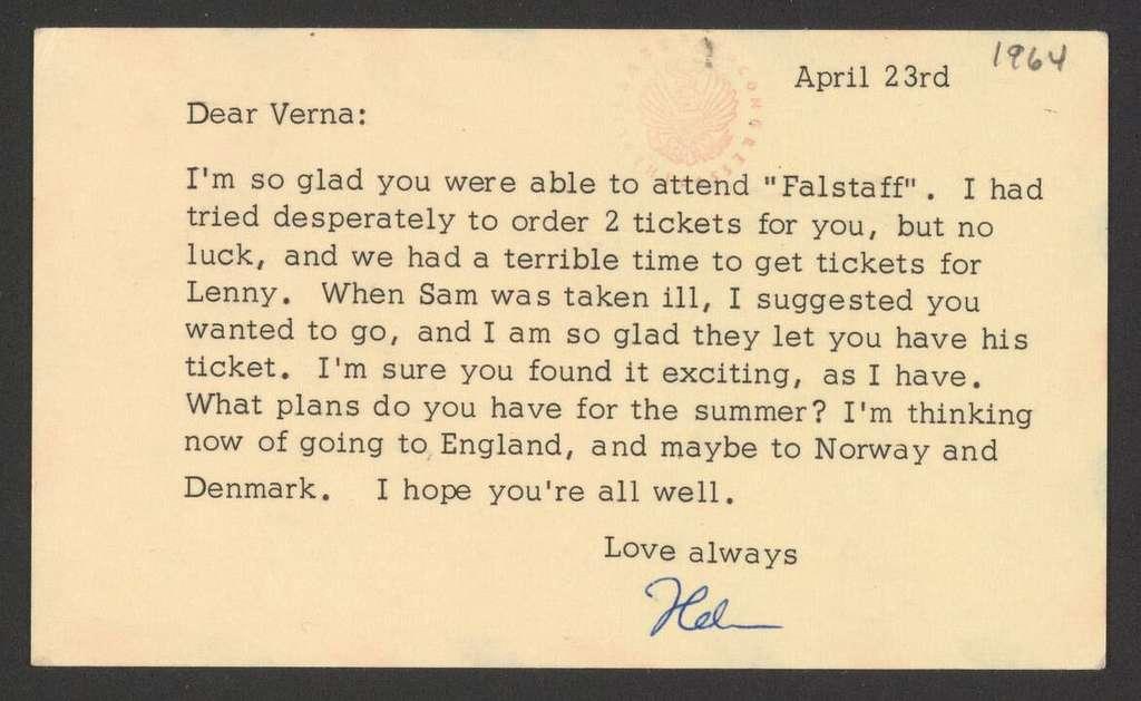 Helen Coates to Verna Fine, April 23, 1964
