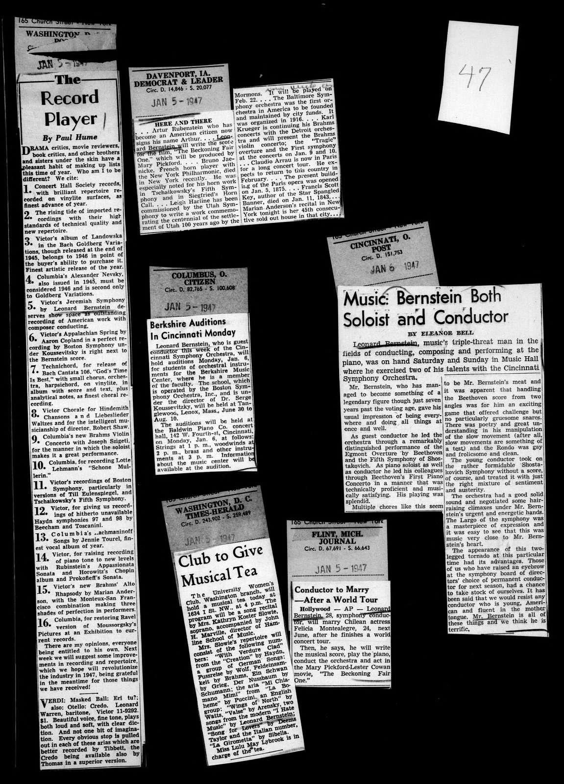 Leonard Bernstein Scrapbook: Book 10. Jan. 1947-