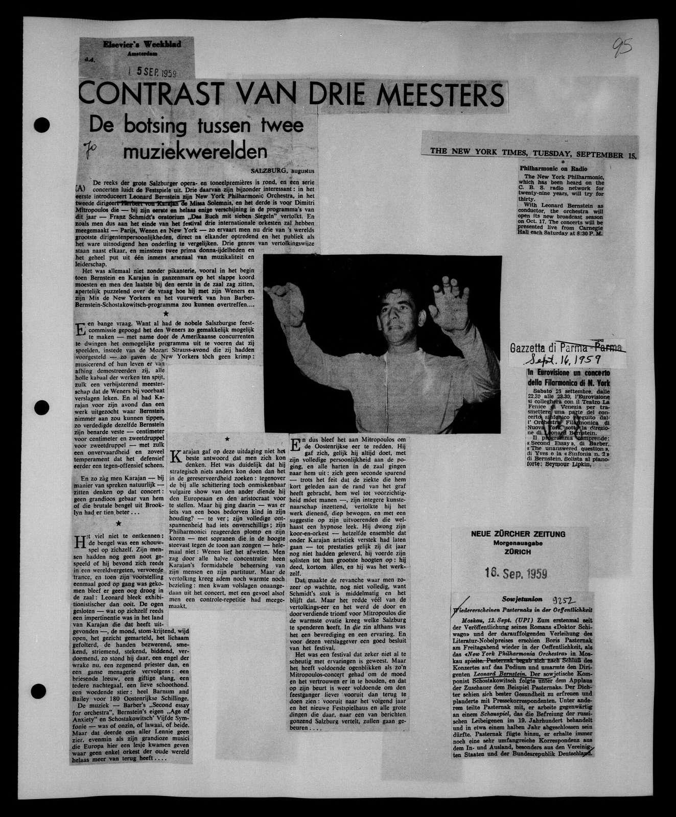 Leonard Bernstein Scrapbook: Vol. 32. Aug. 25, 1959-Sept. 24, 1959