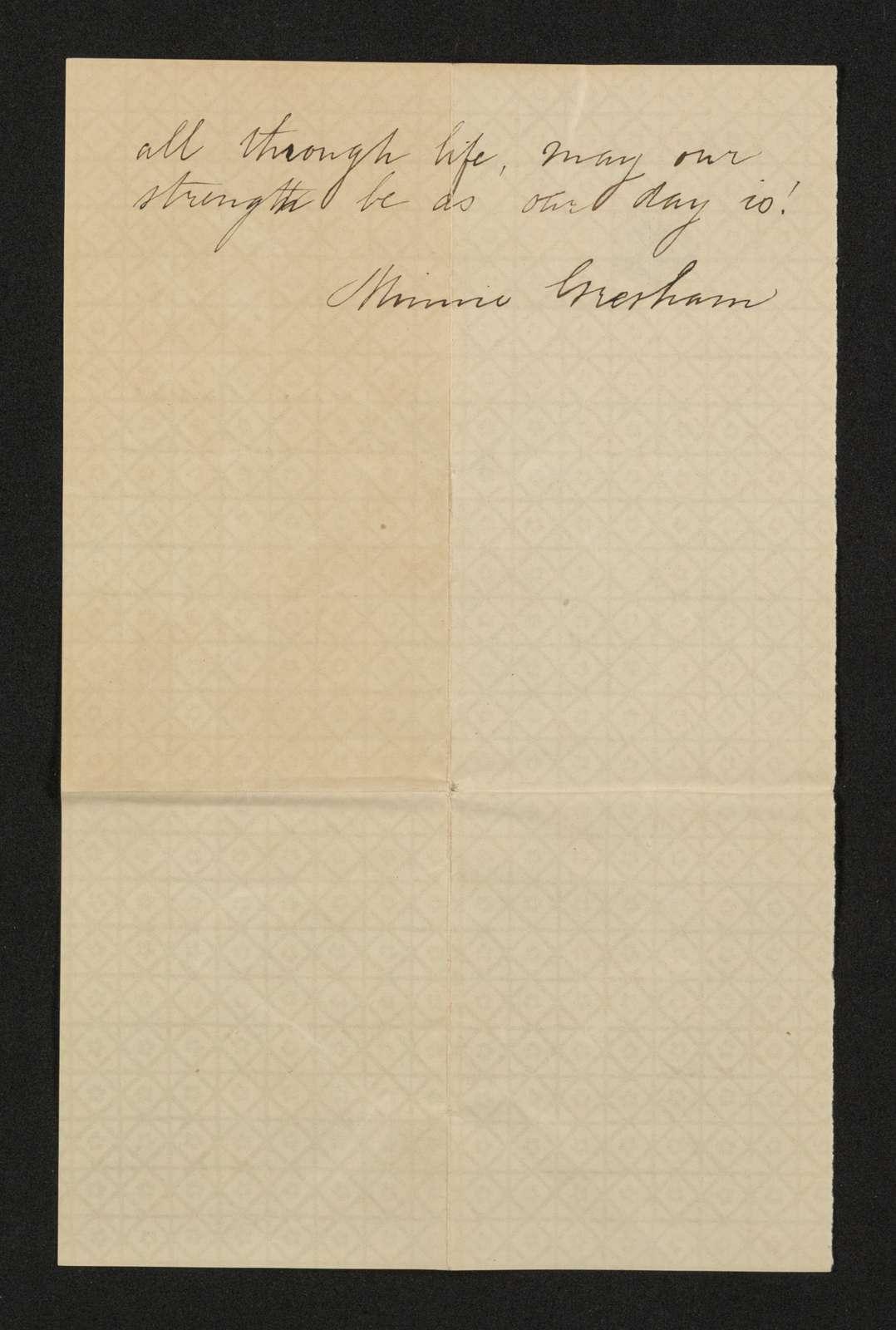 Lewis H. Machen Family Papers: Machen-Gresham Correspondence, 1871-1889; Gresham, Minnie, to Machen, Arthur W.; 1873, Jan.-Feb.