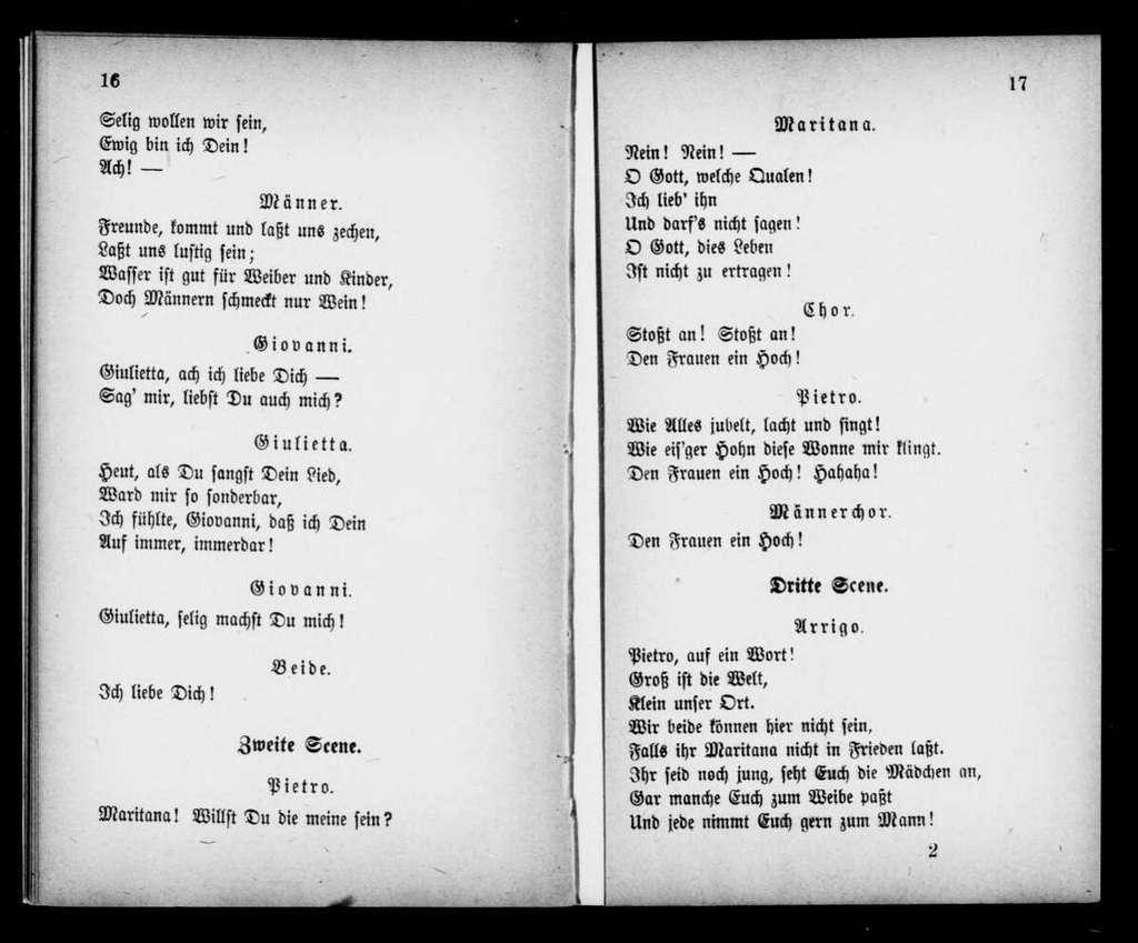 Liebeskampf. Libretto. German