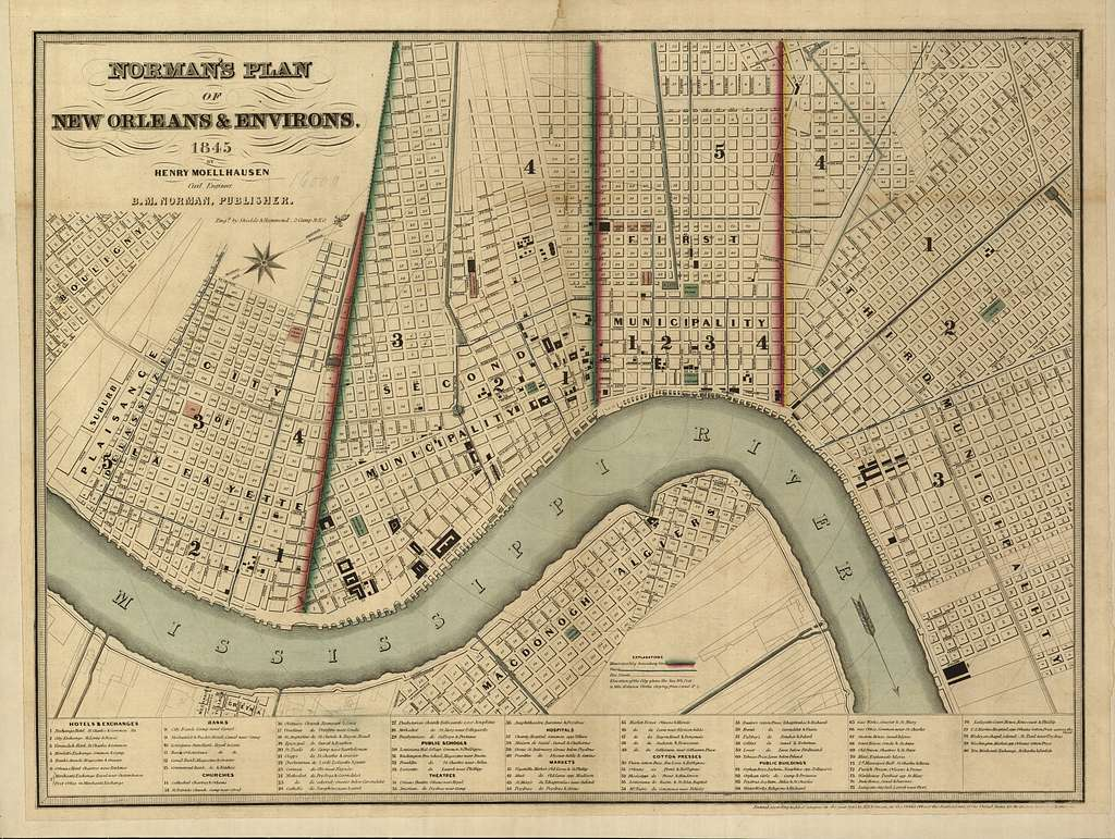 Norman's plan of New Orleans & environs, 1845.