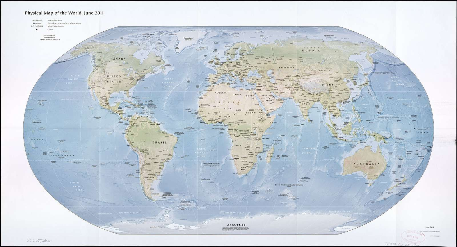 Physical map of the world, June 2011.