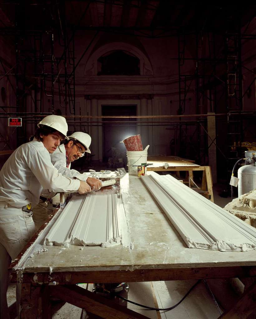 Pouring plaster during the renovation of Union Station, Washington, D.C.