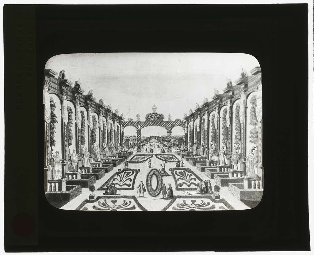 [Reproduction of print showing Axarian Pleasure Garden, Saint Petersburg, Russia. View to trellis]