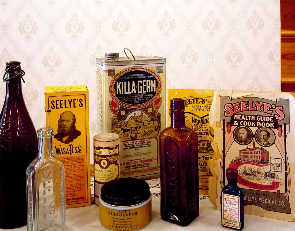 Some of the patent medicines sold out of wagons that covered a 14-state territory around Abilene that can be viewed at the house of the purveyor, Alfred Seelye, in Abilene, Kansas