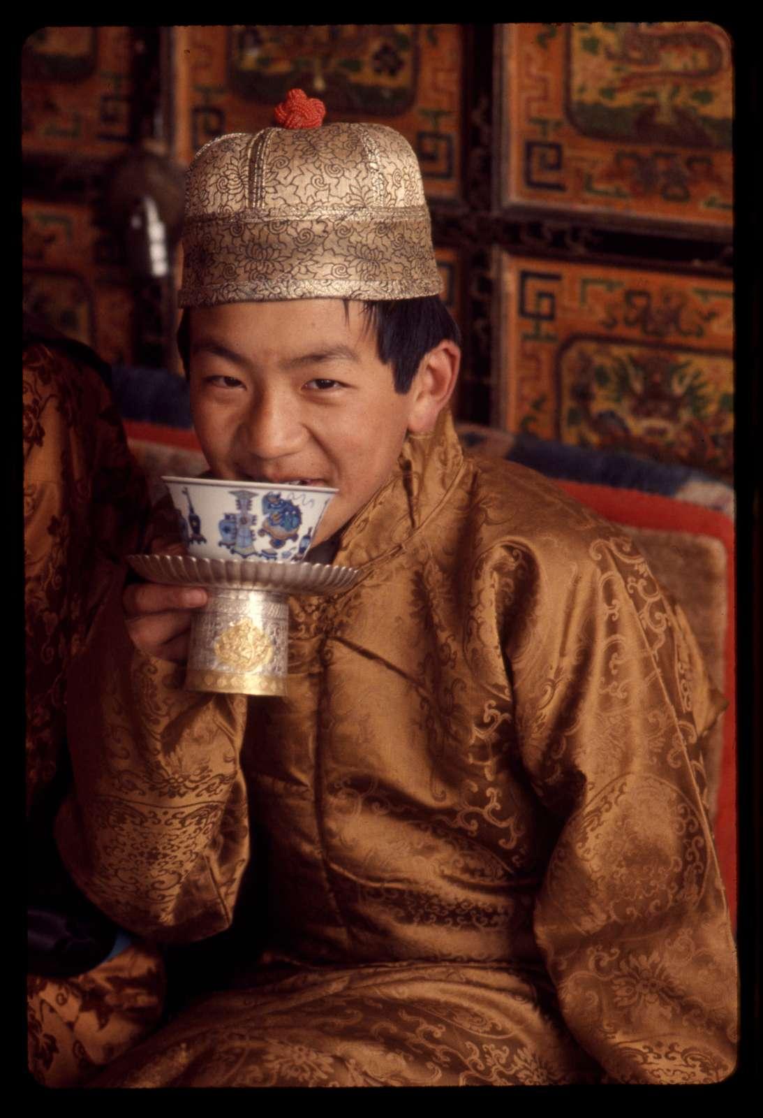 [Son of Rai Bahadur Sonam Tobden, a Sikkimese nobleman, drinking from cup, Sikkim]