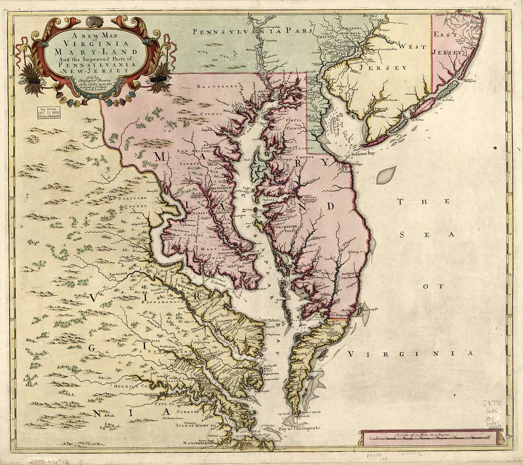 A new map of Virginia, Maryland, and the improved parts of Pennsylvania & New Jersey.