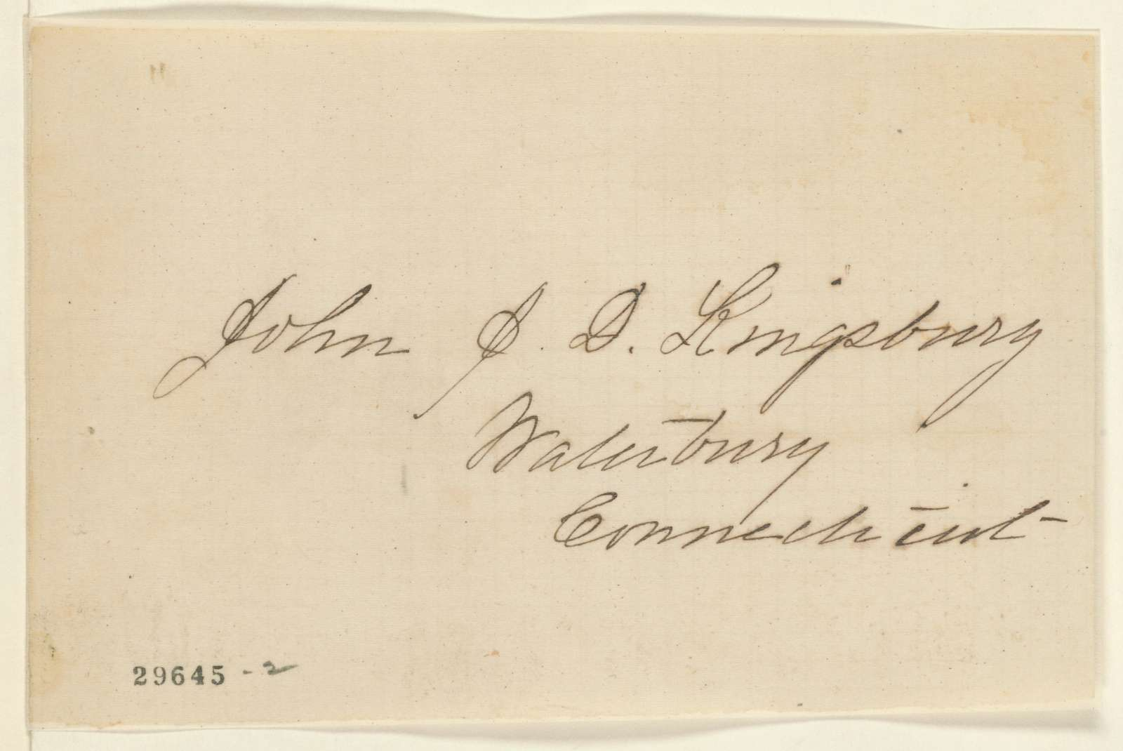 Abraham Lincoln papers: Series 1. General Correspondence. 1833-1916: John J. D. Kingsbury, ND (Cover with address only)