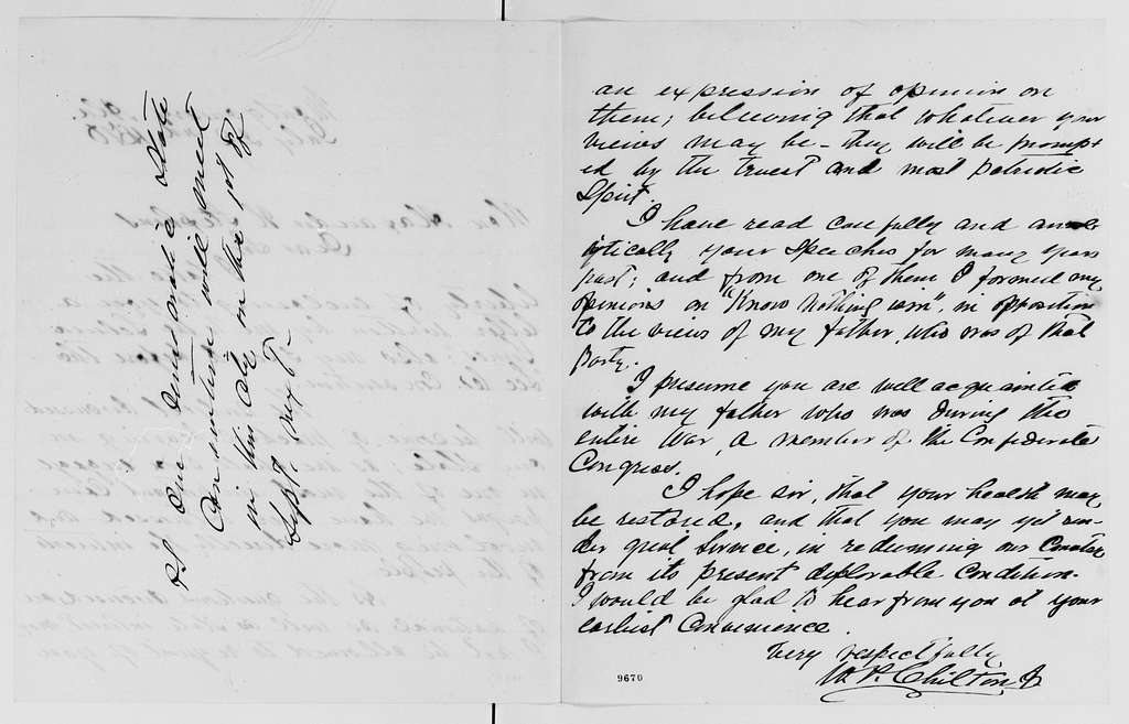 Alexander Hamilton Stephens Papers: General Correspondence, 1784-1886; 1870, July 8-Aug. 6