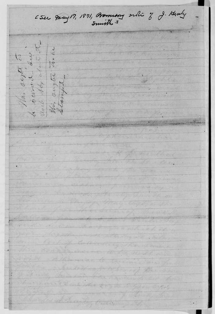 Alexander Hamilton Stephens Papers: General Correspondence, 1784-1886; 1871, May 25-Aug. 7