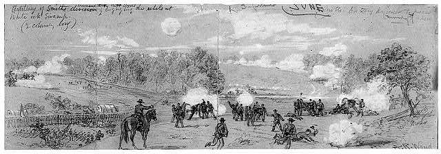Artillery of Smith's division commanded by Capt. Ayres engaging the rebels at White Oak Swamp