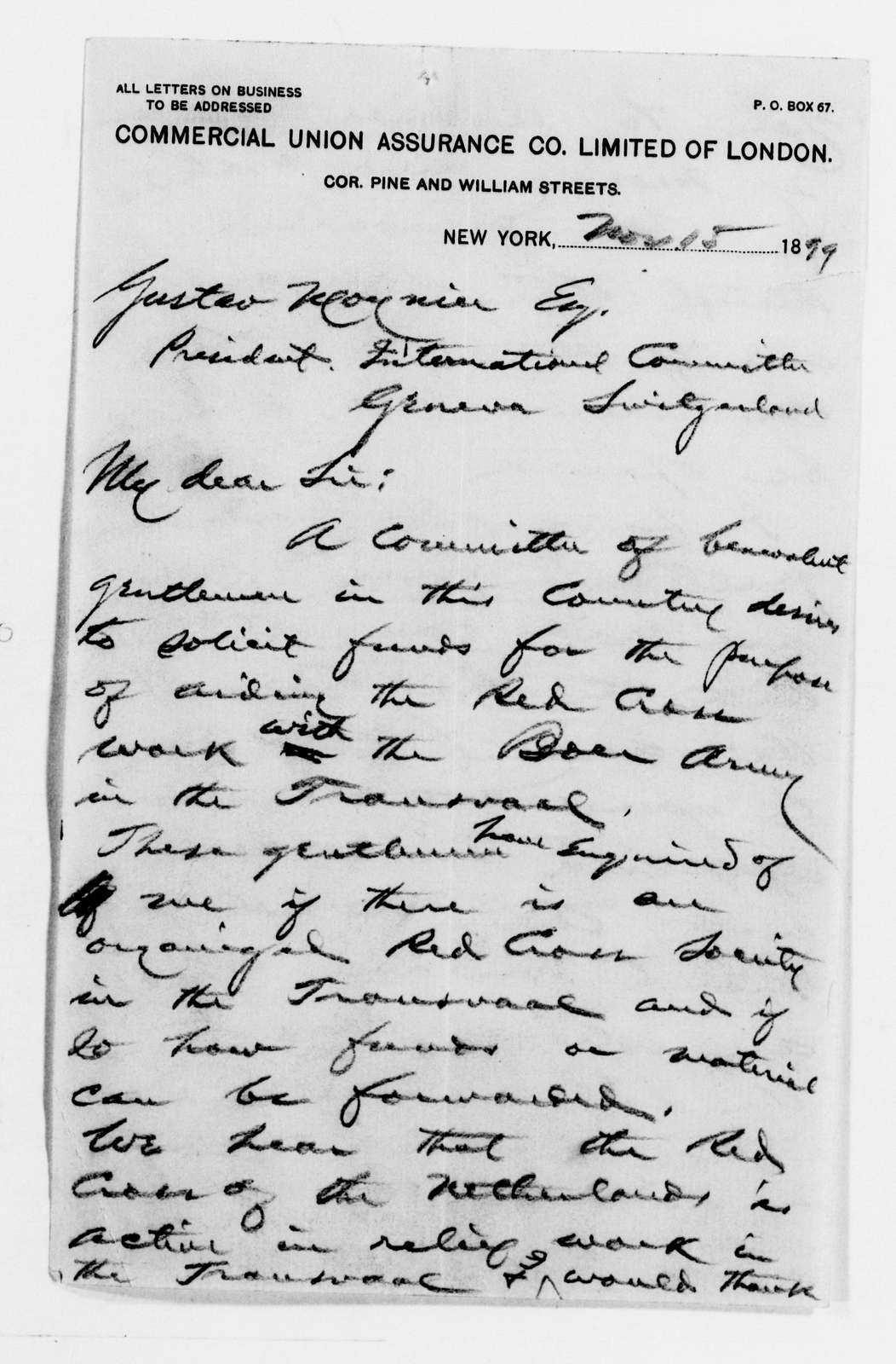 Clara Barton Papers: Red Cross File, 1863-1957; American National Red Cross, 1878-1957; Relief operations; Boer War, 1899-1903