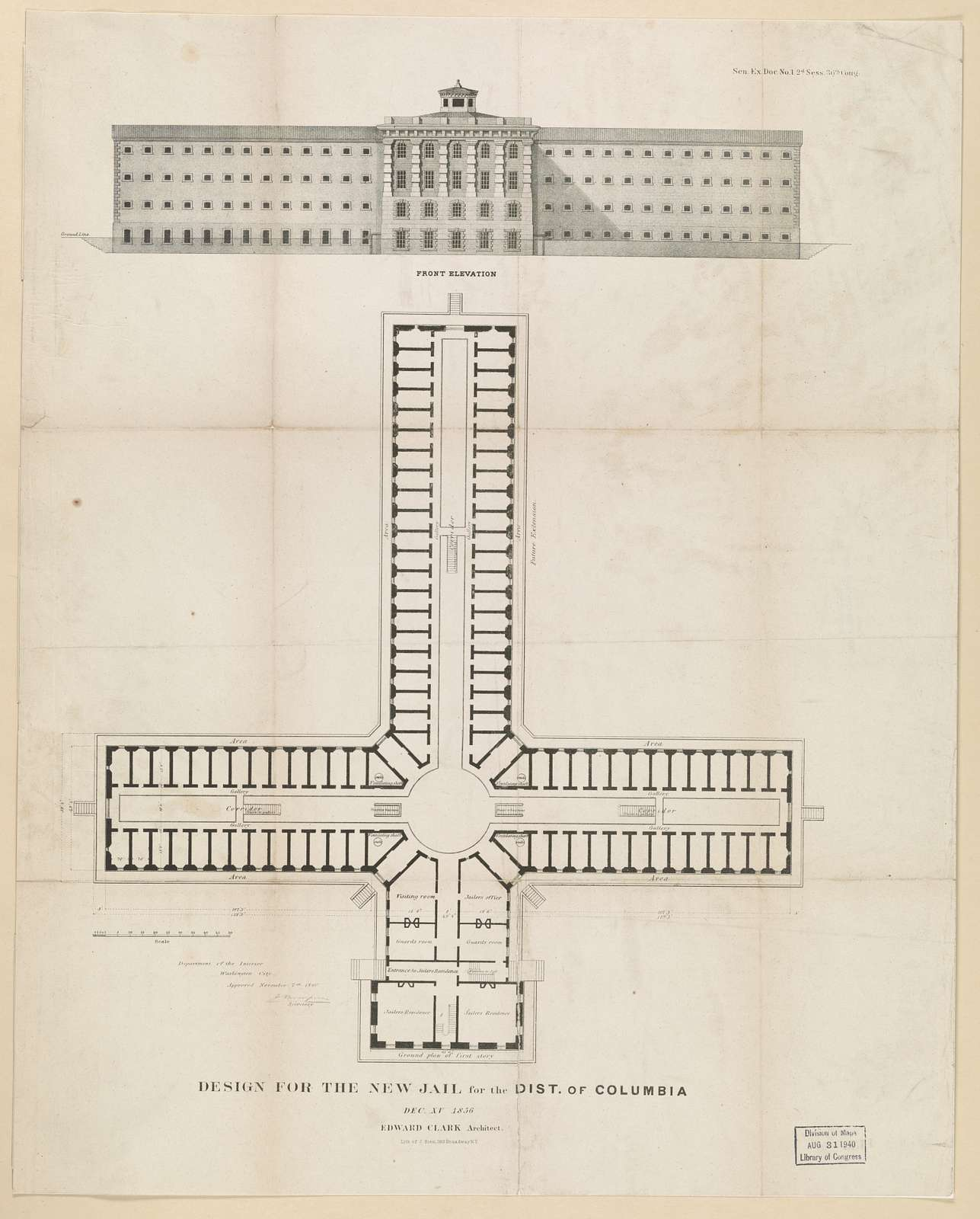 Design for the new jail for the Dist. of Columbia. Dec. XV 1856. Edward Clark architect