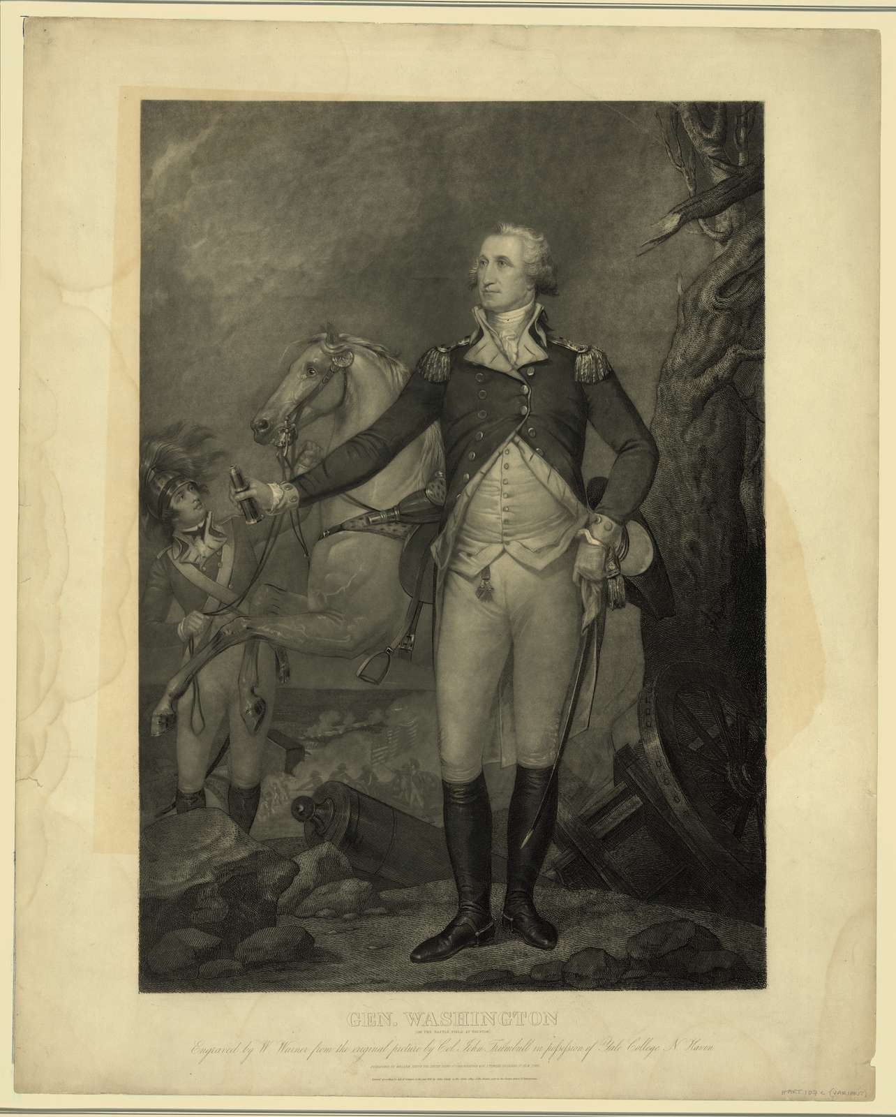 Gen. Washington (on the battle field at Trenton) / engraved by W. Warner from the original picture by Col. John Trumbull in possession of Yale College N. Haven.