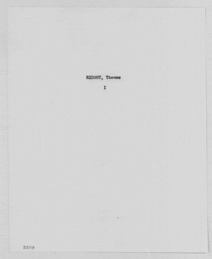 George Washington Papers, Series 7, Applications for Office, 1789-1796: Thomas Ridout