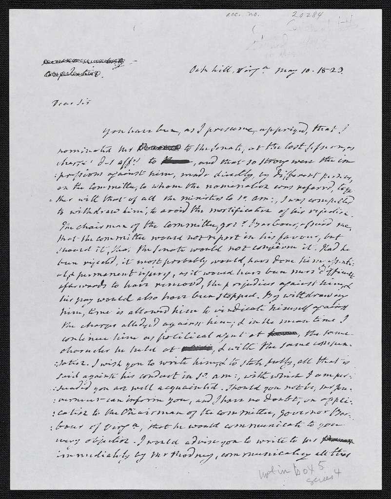 James Monroe Papers: Series 4, Addenda, 1778-1831; 1996 addition; Correspondence, 1811, 1818-1829