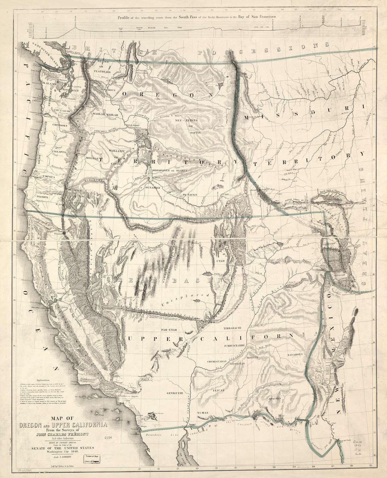 Map of Oregon and upper California from the surveys of John Charles Frémont and other authorities /
