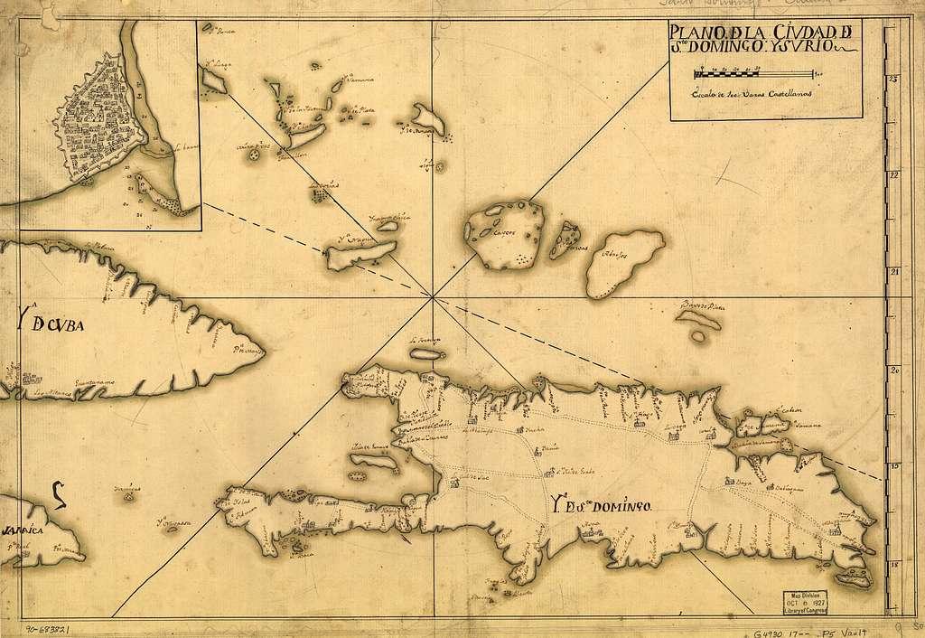 Plano de la ciudad de Sto. Domingo y su río.