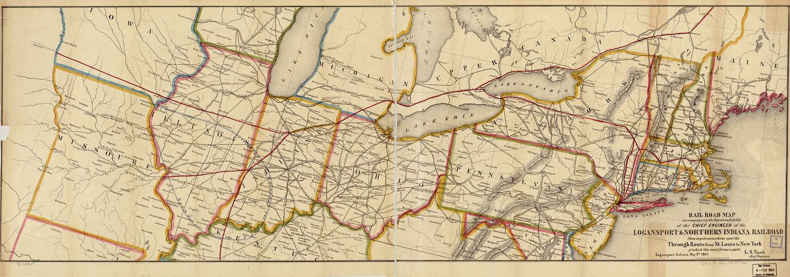 Rail road map accompanying the report an[d] exhibit of the Logansport & Northern Indiana Railroad showing its connections and the through route from St. Louis to New York of which this road forms a part; Logansport, Indiana May 1st 1854; L. S. Nash, Chief Engineer.