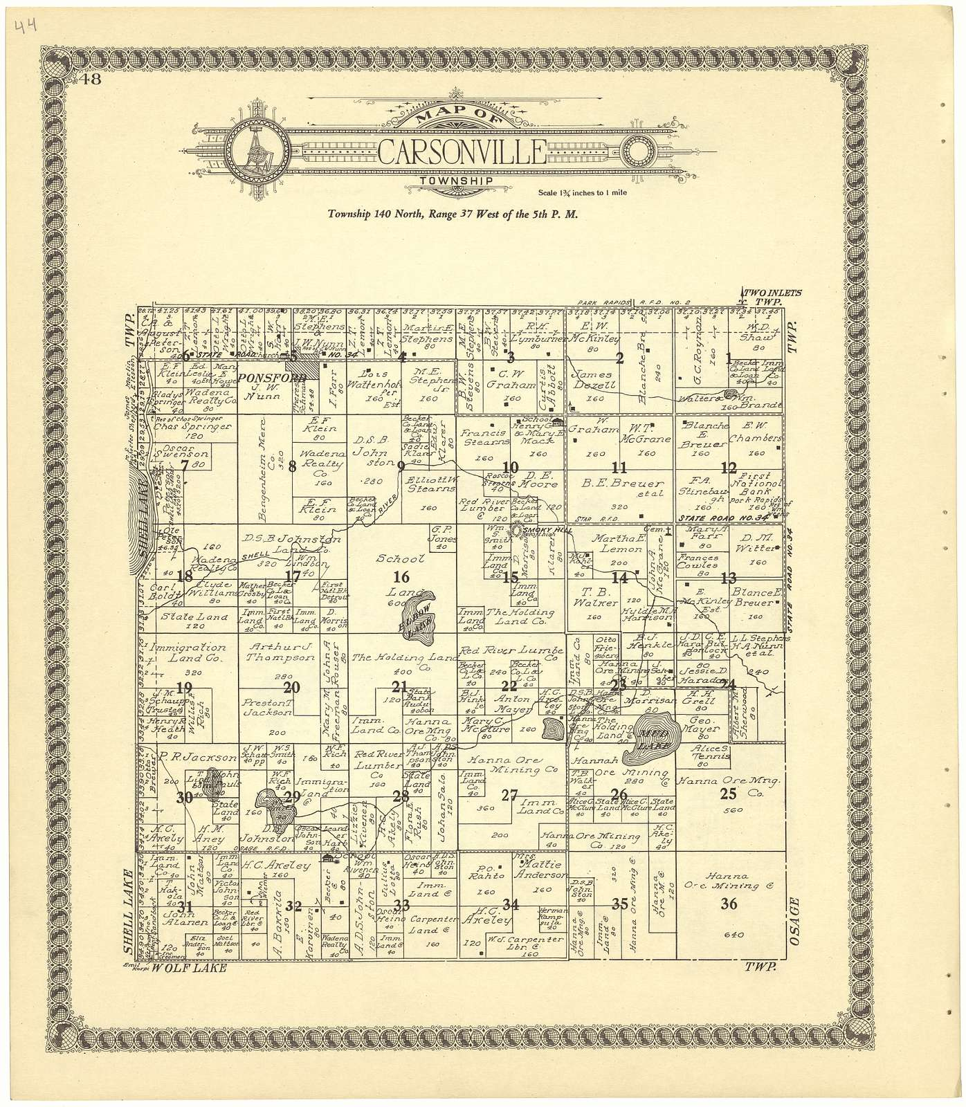 Standard atlas of Becker County, Minnesota : including a plat book of the villages, cities and townships of the county, map of the state, United States and world : patrons directory, reference business directory and departments devoted to general information, analysis of the system of U.S. land surveys, digest of the system of civil government, etc. etc. /