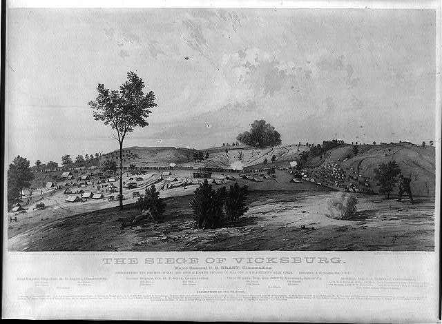 The siege of Vicksburg - Major General U.S. Grant, commanding / JG ; sketched by A.E. Mathews, 31st O.V.I. ; Middleton, Strobridge, & Co. Lith. Cin. O.
