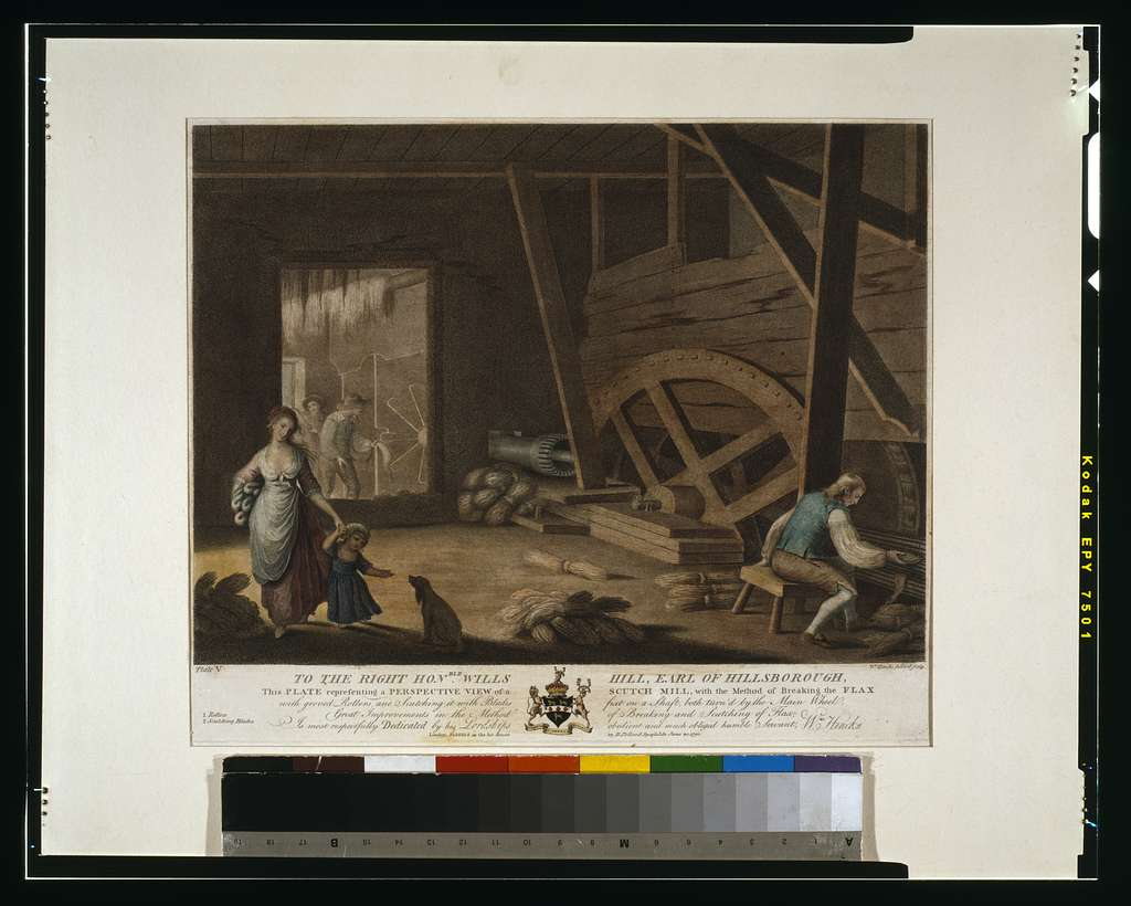 To the right hon'able Wills Hill, Earl of Hillsborough, this plate representing a perspective view of a scutch mill, with the method of breaking the flax with groved [sic] rollers, and scutching it with blades fixt on a shaft, both turn'd by the main wheel; great improvements in the method of breaking and scutching of flax; is most respectfully dedicated by ... Wm. Hincks / Wm. Hincks, delin. et sculp.